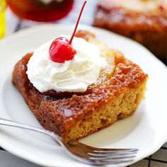 An easy recipe for super moist, homemade pineapple upside-down cake made with STAR Butter Flavored Olive Oil, yogurt, and a buttery-sweet brown sugar topping. #STARFineFoods