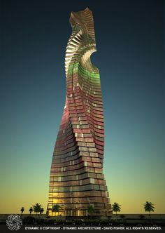 Dynamic Architecture Rotating Tower Dubai. These towers actual rotate constantly! They adjust to the wind and sun for both view and function. The building is completely self-powered by its wind turbines on each floor and solar ink on its roofs.