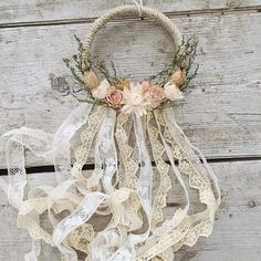 Mini Boho Dreamcatcher Rearview Mirror Floral Wallhanging