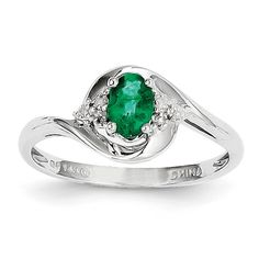 14K White Gold Genuine Diamond & Oval Emerald May Birthstone Ring Size 7 $197.75
