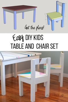 Easy plans to build a DIY Kids table and chairs. This painted toddler table is s. - Easy plans to build a DIY Kids table and chairs. This painted toddler table is so cute! Toddler Table And Chairs, Kid Table, Table And Chair Sets, Wooden Kids Table, Paint Kids Table, Woodworking For Kids, Beginner Woodworking Projects, Woodworking Plans, Unique Woodworking