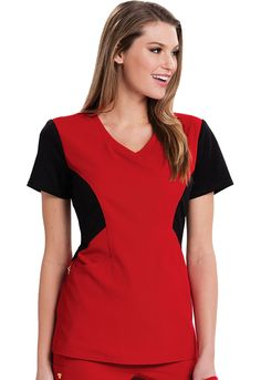 A Contemporary fit, zip front jacket features contrast ponte knit at the sleeves as well as front and back contour panels. Also featured are angled pockets, signature gold foil branding and a signature logo charm. Cute Scrubs Uniform, Stylish Scrubs, Black Scrubs, Medical Scrubs, Scrub Tops, V Neck Tops, Costume, Short Sleeve Dresses, Scrubs Uniform