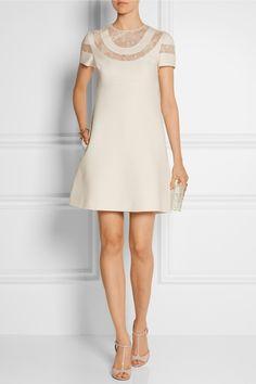 Valentino-Mini-robe en laine et crêpe de soie avec empiècements en dentelle