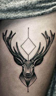 deer tattoos ink on arms Time Tattoos, Body Art Tattoos, Small Tattoos, Stag Tattoo, Squid Tattoo, Tattoo Ink, Hirsch Tattoo, Geometric Deer, Future Tattoos