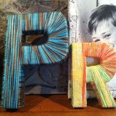 Yarn letters Yarn Letters, Fonts, Craft Ideas, Frame, Diy, Crafts, Home Decor, Manualidades, Designer Fonts