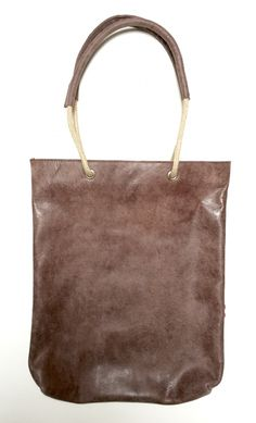 Shopper Touwhengsel Dusty Brown Handmade leather tote