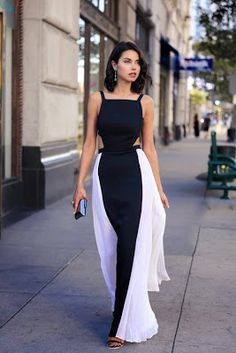 Women's fashion | Chic white and black dress