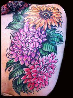flower tattoo - Dahlia, sunflower, girly done by Jessi Lawson