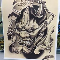 Today was a long day, started this ONI mask. Oni Tattoo, Brush Tattoo, Hanya Tattoo, Irezumi Tattoos, Dark Tattoo, Neue Tattoos, Body Art Tattoos, Tattoo Drawings, Sleeve Tattoos