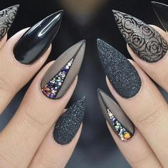 Cute Stiletto Nails With Matte Accents. If you are a passionate lover of a matte finish, have a look at these matte and cute stiletto nails. 1542658375 Best Black Stiletto Nails Designs for Your Halloween Black Nails black style # Black Nail Designs, Acrylic Nail Designs, Nail Art Designs, Nails Design, Pedicure Designs, Nails Inc, My Nails, Black Stiletto Nails, White Nails