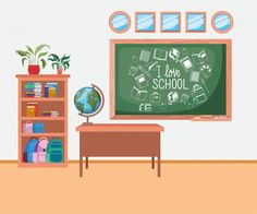 Classroom school with chalkboard scene Free Vector Chalkboard Vector, Toy Shelves, Free Education, Kids Artwork, Displaying Collections, Vector Photo, Home Crafts, Vector Free, Children