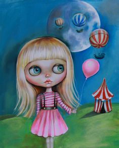 Original ACRYLIC PAINTING BIG EYE GIRL Blythe doll STEAMPUNK GEAR low brow ART #steampunklowbrow