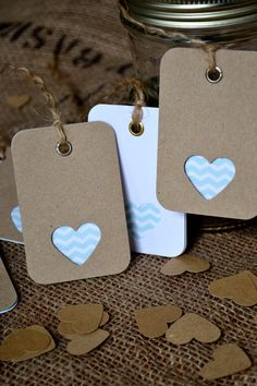 Mint Chevron Wedding Favor tags by LaPommeEtLaPipe on Etsy, $15.00