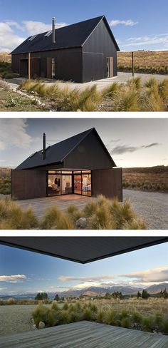 C Nott Architects Ltd, Tekapo, NZ This simple bach dwelling for a young family of four offers outstanding views and retreat on a hillside site. The architecture is strong and well-managed: a well proportioned gable form, simple materials, no-fuss. Architecture Durable, Residential Architecture, Interior Architecture, Black House, Cabana, Tiny House, Open House, Building A House, Shed