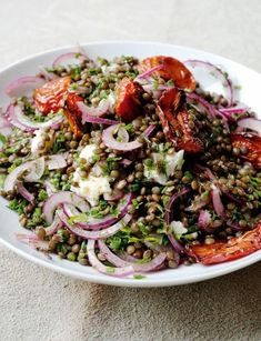 Castelluccio lentils with tomatoes and Gorgonzola recipe from Plenty by Yotam Ottolenghi Yotam Ottolenghi, Salty Foods, Lentils, Pasta Salad, Salad Recipes, Buffet, Cabbage, Spaghetti, Lunch