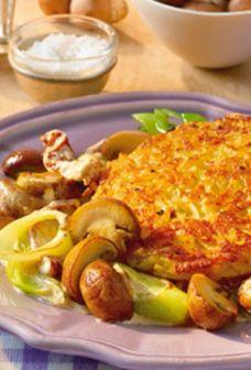 Kartoffel-Rösti mit Champignon-Lauch-Gemüse