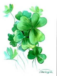 Shamrock St Patrick Irish original watercolor by ORIGINALONLY