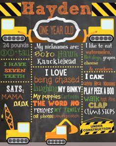 Construction Crew Custom Birthday Chalkboard - Trucks - Dirt- Diggers - Tractors