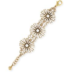 Lulu Frost Daisy Flower-Medallion Chain Bracelet ($200) ❤ liked on Polyvore featuring jewelry, bracelets, gold, golden jewelry, flower medallion, flower bangle, blossom jewelry and lulu frost