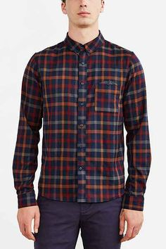 Native Youth Twill Checked Flannel Button-Down Shirt - Urban Outfitters