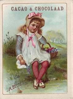 chromo cacao driessen girl sitting on grassy bank with basket of flowers beside her | par patrick.marks