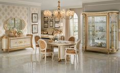 Luxury Italian dining room furniture collection, finished in ivory with real gold leaf highlights. Exclusive to Mondital luxury Italian furniture stores. Furniture, Italian Furniture, Luxury Furniture, Classic Dining Room, French Furniture, Italian Dining Room, Side Chairs, Dining Furniture Sets, Dining Room Furniture