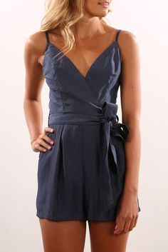 Up Till The Morning Playsuit Navy