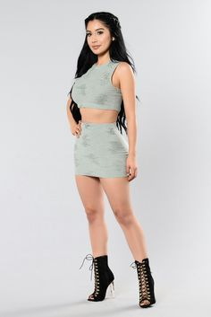 """Available In Olive And Tan Pair with """" Running Through My Thoughts Top"""" Mini Skirt Distress Detail Cotton Polyester Spandex Beautiful Models, Most Beautiful Women, Sexy Outfits, Fashion Outfits, Womens Fashion, Janet Guzman, Perfect Woman, Cute Dresses, Mini Dresses"""