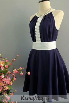 Luna Night Sweet Dress White Pleated Top Dress Navy Dress Spring Summer Sundress Navy Prom Party Dress Wedding Bridesmaid Dress XS-XL