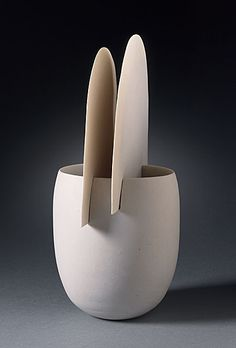 Ruth Duckworth  Cup, 1994  Ceramic, Porcelain, 4 1/2 x 4 x 3 1/2 in. (11.43 x 10.16 x 8.89 cm)  Smits Ceramics Purchase Fund (AC1995.167.2.3)  LACMA Decorative Arts and Design Department.