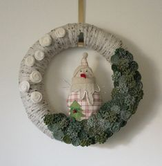Snowman Wreath Country Wreath Felt and Yarn by TheBakersDaughter, $52.00