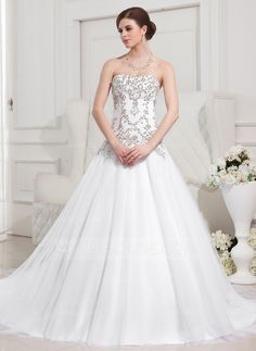 Ball-Gown Sweetheart Royal Train Satin Tulle Wedding Dress With Embroidered Beading (002012752) - JJsHouse