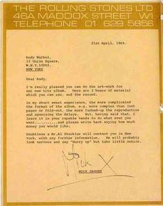 Mick Jagger's letter to Andy Warhol on April 21, 1969, confirming Andy's future work on doing the cover art for Sticky Fingers.
