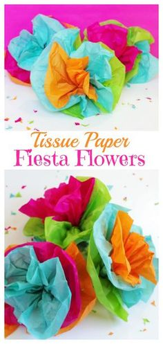 Tissue Paper Fiesta Flowers. Perfect for Cinco De Mayo parties.