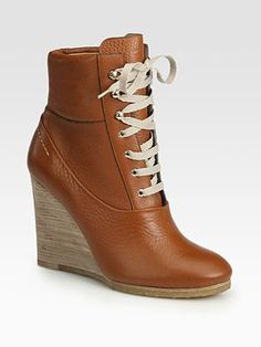 Chloé Leather Lace-Up Wedge Ankle Boots