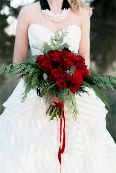 Red rose bridal bouquet   Alea Lovely Photography   http://burnettsboards.com/2013/12/holiday-couture-classy-stripes/