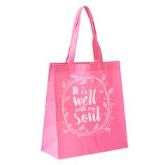 It is Well with My Soul Tote Shopping Bag Christian Art Gifts, Bag Packaging, Scripture Verses, Inspirational Message, Inner Peace, Shopping Bag, Reusable Tote Bags, Wellness, Lettering