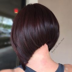This is a very unique haircut, love that neckline…. Is she hiding an undercut under there …. Haircut and colored by masterstylist Brigitte Elia @brigitteeliahairartist To have your hair featured please tag @bobbedhaircuts #merlot #merlothaircolor #bob #kenracolor #tressobsessed #btcpics #licencedtocreate #aline #alinebob #extremealine #graduatedaline #stackedaline #bobbedhair #bobme #bobfordays #ilovebobs #bobbedhairdontcare #hairlove #healthyhair #shinyhair #sexyhair #edgyhair #hairporn…