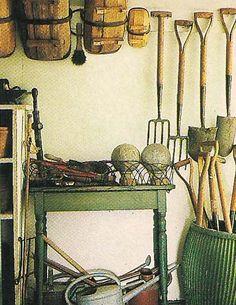 The Devoted Classicist: Nancy McCabe: The Garden Designer's Own Garden - The Devoted Classicist: Nancy McCabe: The Garden Designer's Own Garden - Old Garden Tools, Garden Power Tools, Garden Tool Shed, Garden Tool Storage, Farm Tools, Old Tools, Garden Shop, Garden Art, Home And Garden