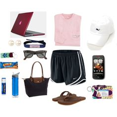 """Quick Day Trip"" by kristinalvhs on Polyvore pink vineyard vines baseball cap nike tempo shorts rainbow flip-flops longchamp ray-bans wayfarers"