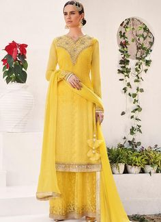 Sunset Yellow Embroidered Georgette Sharara Suit