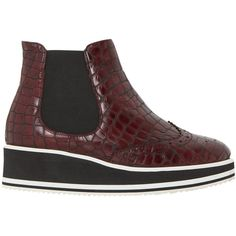 Dune Black Brogue Detail Flatform Chelsea Boots, Burgundy (10.800 RUB) ❤ liked on Polyvore featuring shoes, boots, ankle booties, leather booties, burgundy ankle boots, chelsea boots, flat booties and burgundy leather boots