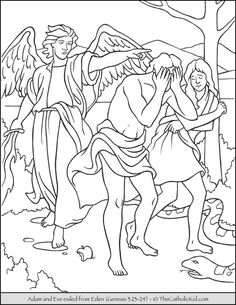Bible Coloring Page – Adam and Eve Exiled from Eden.
