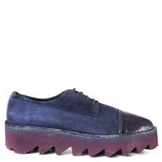 Lagoa Geneve Patent Leather Platform Oxfords in Blue – Bulo