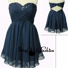 Navy Short Beaded Neckline Open Back Strapless Ruched Prom Dress On Sale