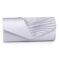 e69f60e020d Bolso de mano para fiesta o boda de satén plisado plateado