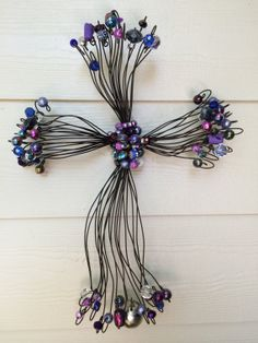 Hand made decorative beaded rustic wire crosses by CrossesbyElio, $55.00
