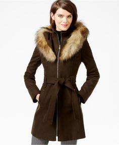 RACHEL Rachel Roy Faux-Fur-Hood Belted Walker Coat - Coats - Women - Macy's $170