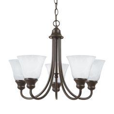 Sea Gull Lighting Windgate 20.25-in 5-Light Heirloom bronze Alabaster Glass Shaded Chandelier ENERGY STAR