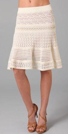 Gorgeous CATHERINE MALANDRINO Mixed Pointelle Skirt, sz S, Cream #CatherineMalandrino #KnitKneeLength